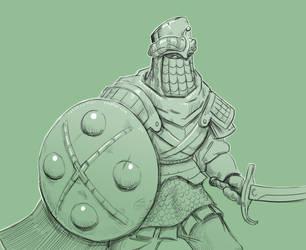 Inktober 13/31 Guarded Knight by KidneyShake