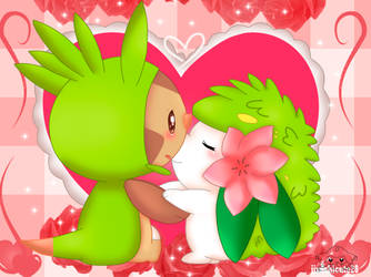 Chesprin and Shaymin by jirachicute28
