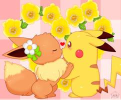 Eevee and  Pikachu by jirachicute28