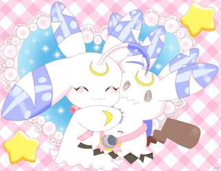 Lunamon And Mimikyu by jirachicute28