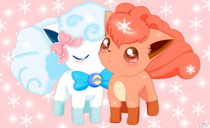 Snowy and kanto vulpix by jirachicute28