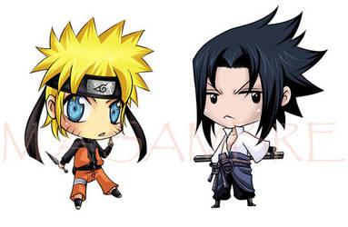 Naruto Sasuke chibis - Buttons by Marie-Angele