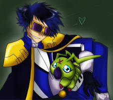 Digimon - Kaiser and Wormmon by liliy