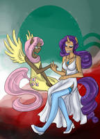 MLP - Fluttershy and Rarity by liliy
