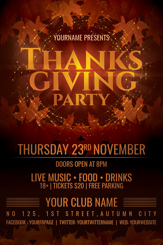 thanksgiving party flyer template by dilanr on deviantart