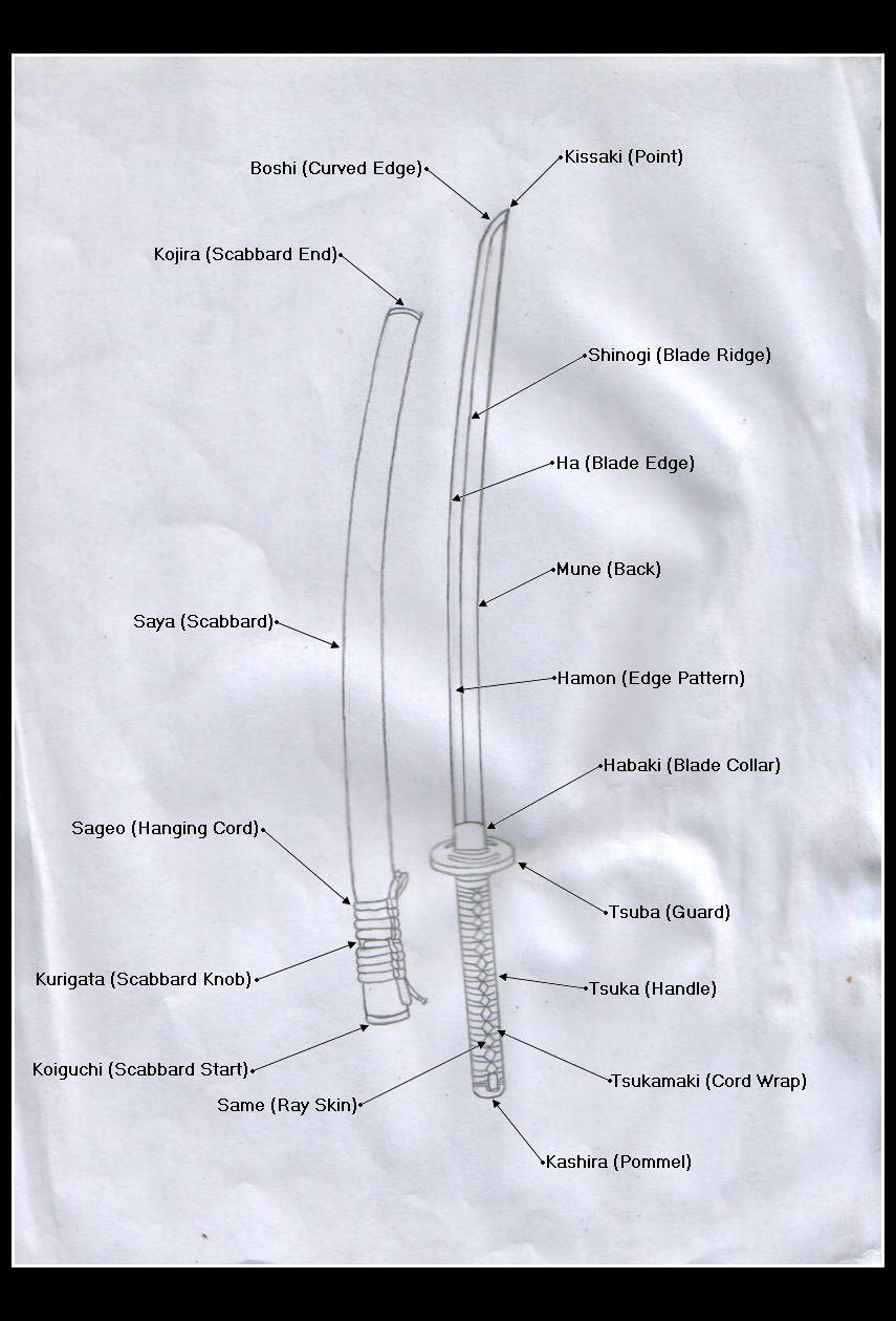 Swordmaking Anatomy: Katana by chioky