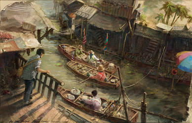 Dumnoen Saduak Market by LotharZhou