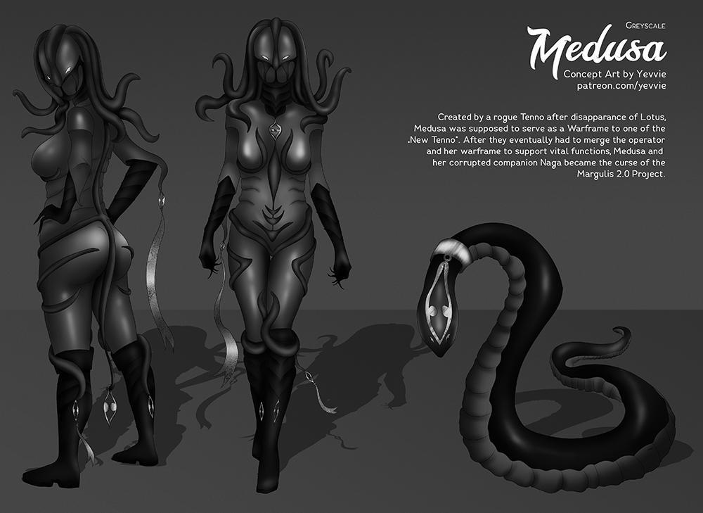 Medusa Greyscale + Overview [Warframe] by yevvie