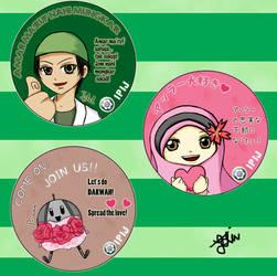 IPIJ Mascot Badges by famerkun
