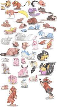 Rodent and Rabbit Pokemon by DragonlordRynn