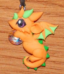 Flat Orange Dragon Necklace by XDtheBEASTXD