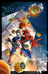 Spiderman saves Mary Jane by jamietyndall