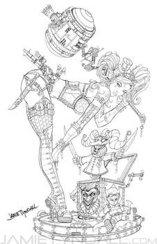 Steampunk Harley Quinn Line art by jamietyndall