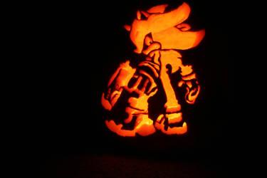 Shadow The Hedgehog Pumpkin by lordgreggreg
