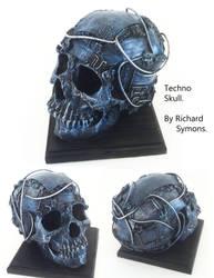circuit board skull sculpture by richardsymonsart