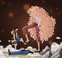 Luffy vs Doflamingo by claudiadragneel
