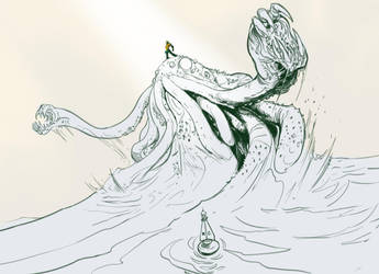 Aquaman rides a Cthulhu by Solblight