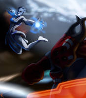ME2: Liara vs. Shadow Broker by Maloneyberry