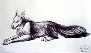 Wolf At Rest Doodle by InuMimi