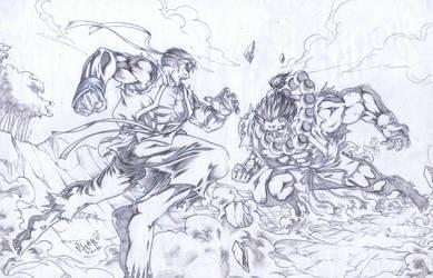 Akuma vs Ryu by reonvhonix