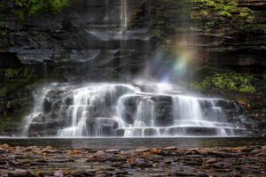 Rainbow in Harrison Wright Falls - Ricketts Glenn by ryangallagherart