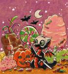 Halloween chibi dragon in candy land by Wollfisch