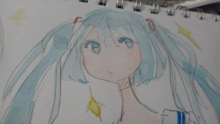#017 Miku Watercolor c: by kirichan-99