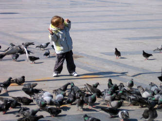kiddo with birds by theshiver