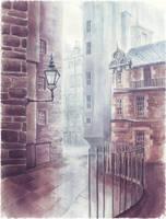 Watercolor Alleyway II by JeSSanchez