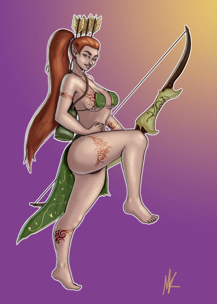 Sexy Elf Archer Pinup by masterslacker