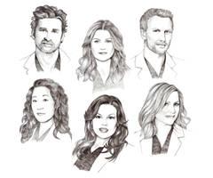 Grey's Anatomy cast by Lady-Hannah