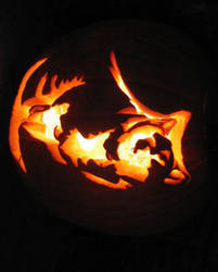 Wolf Pumpkin Carving by SpikedPyro