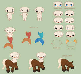 Shark Chibi Bases by umrae