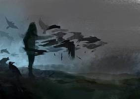 [Daily Spitpaint] Mother of Ravens by azura-art