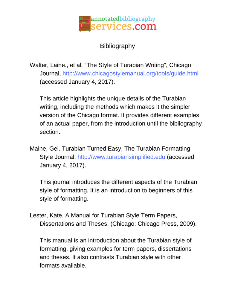 Annotated Bibliography Example Turabian By Anno