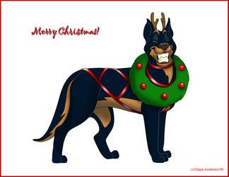Beauceron Christmas Card by ChayaA