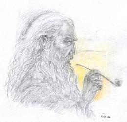 Gandalf by firelight by Pika-la-Cynique