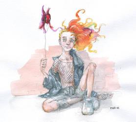 Delirium--and her fishie. by Pika-la-Cynique