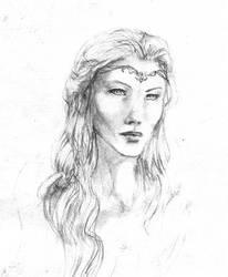 Galadriel portrait, sketch by Pika-la-Cynique