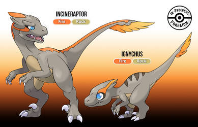 Fossil Fakemon - Ignychus and Incineraptor by InProgressPokemon
