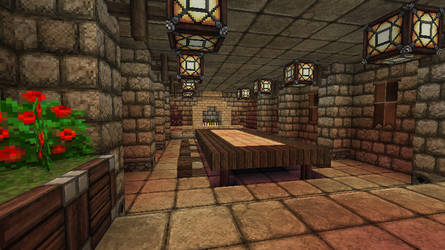 Minecraft - Fortress - Dining room by Homunculus84