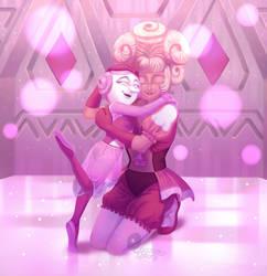 Pink Pearl and Pink Diamond by QuasariusCyborg