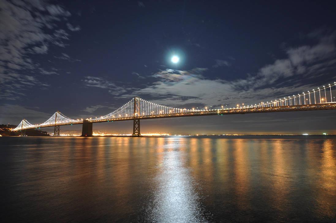Full moon over bay bridge by tt83x