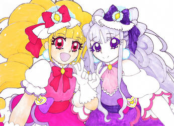 HuGtto! Precure~Cure Macherie and Cure Amour by dream-thunder