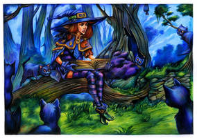 Fantasy series watercolor pencil: witch reading by henriqueandrade