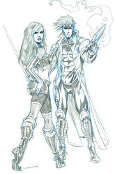 Gambit and Rogue by ColtNoble