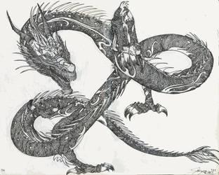 chinese dragon tatoo by Drawlight