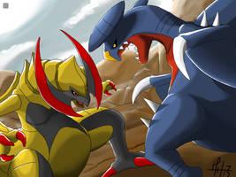 Dragons: Haxorus vs Garchomp by MarcoH88
