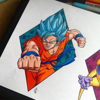 Goku Super Saiyan God Blue Tattoo Design by Hamdoggz