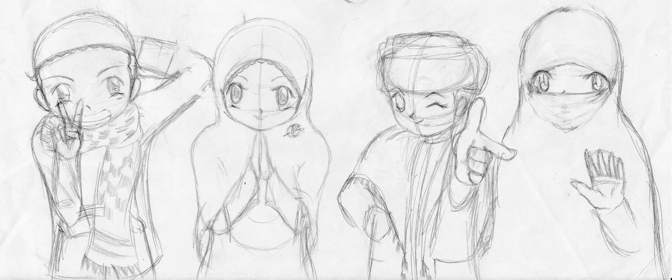 Anime muslim pencil sketch by abdulazizabdurrahman